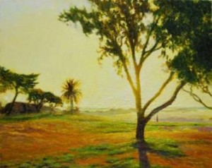 """Beachfront lawn with tree"" Oil on canvas, 40 x 50cm"