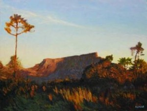 """Table Mountain viewed from Signal Hill"" Oil on canvas, 50 x 65cm"