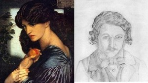 Jane Morris as Proserpine (deur Dante Rossetti), en 'n selfportret van William Morris