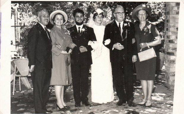 Troue 21 Desmeber 1968. Harry, Christien & Dirk Laurie; Trienke, dirk & Marié Opperman.
