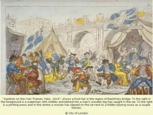 'n Uitbeelding van die ys kermis in 1814