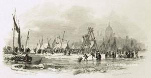 'n Ys kermis naby Londen Brug in die 1800s