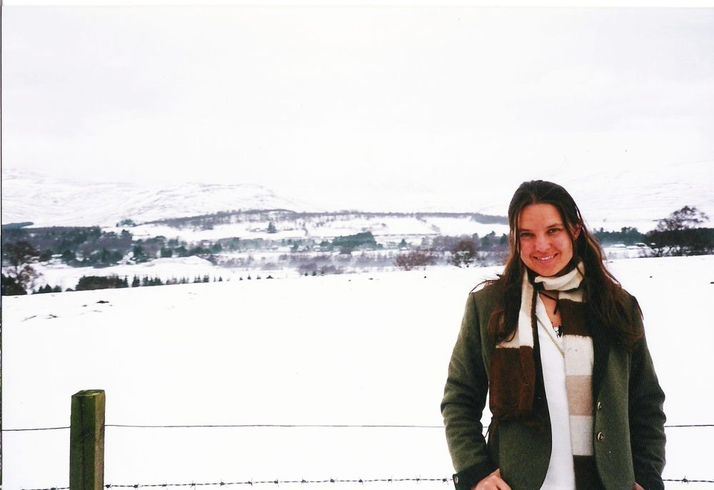 In 'n sneeulandskap in die Skotse Hoogland