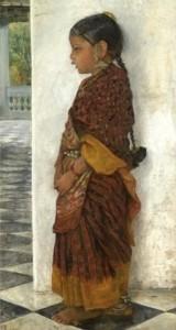 Girl standing in a veranda wearing a Pochampalli sari, deur Hermann Linde