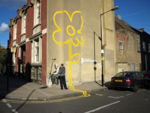 Bansky se kunswerk, Yellow Flower, in 2007