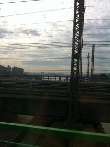 uitsig oor die han rivier vanuit die KTX hoogspoed trein