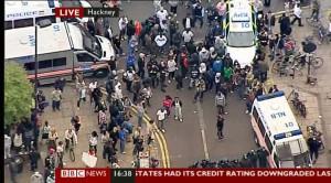 Oproerigheid in Hackney, Oos Londen, 8 Augustus 2011