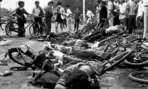 Liggame van dooie burgerlikes na die studenteprotes in 1989