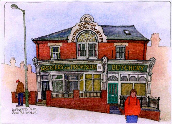 Waterverfie van Helen en Martin se Butchery-huis, in Norwich