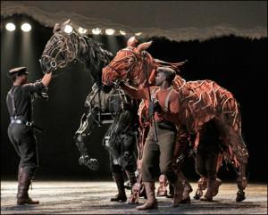 Die perde Joey en Topthorn in 'War Horse'