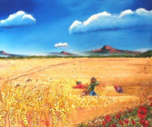 Steeds lief vir die koringlande van sy kinderdae: Meyer se skildery, 'Wheatfield and Poppies'.