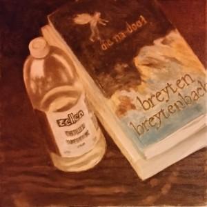 """""""Stillewe met Breytenbach se 'Die na-dood', 'Die singende hand' en bottel terpentyn"""", olie op doek, 25x25cm"""
